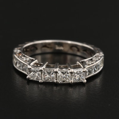 14K Diamond Openwork Ring with Channel Set Shoulders