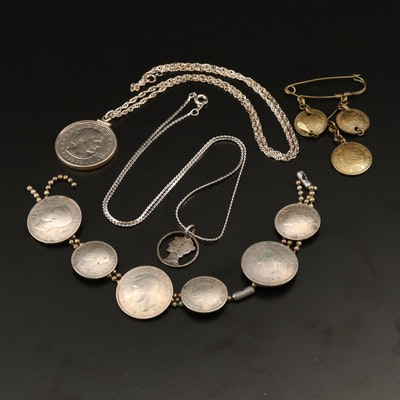 Jewelry with Coins Featuring Mercury Silver Dime and Susan B. Anthony Dollar