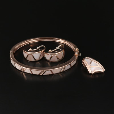 14K Rose Gold Diamond and Mother of Pearl Jewelry Set
