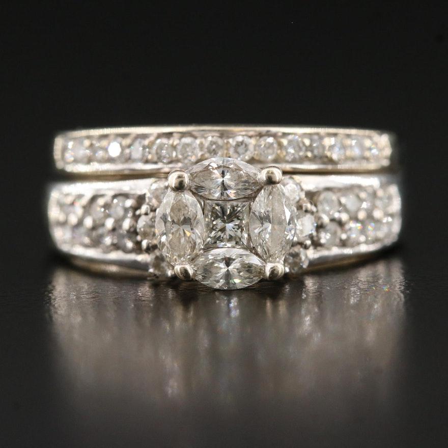 14K 1.18 CTW Diamond Illusion Set Ring