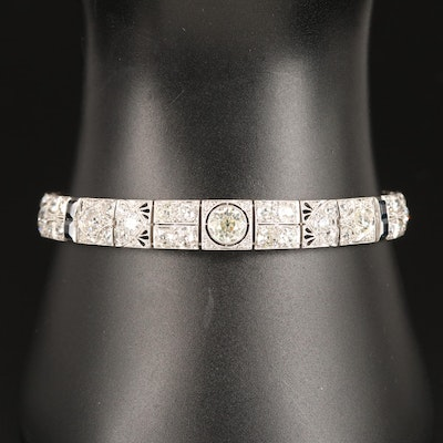 Art Deco Platinum 6.95 CTW Diamond and Sapphire Panel Link Bracelet