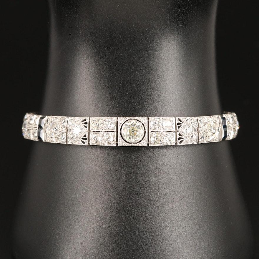 Art Deco Platinum 6.95 CTW Diamond and Sapphire Panel Link Bracelet