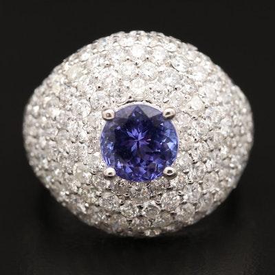 18K Tanzanite and Pavé 3.65 CTW Diamond Ring