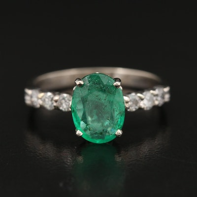 14K 2.07 CT Emerald and Diamond Ring with Floral Setting and GIA Report