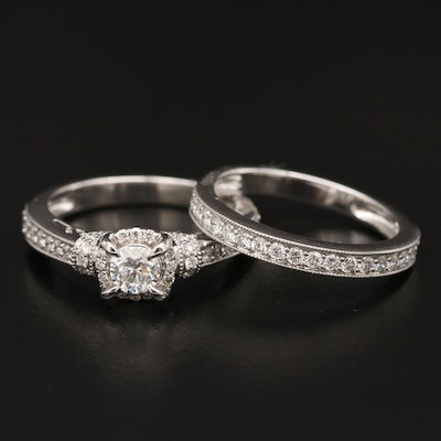 14K 1.09 CTW Diamond Band and Ring Set with Milgrain Details