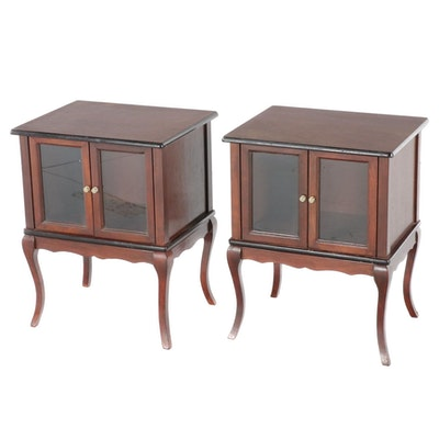 Pair of Glass-Front Walnut-Stained Wooden Bedside Tables
