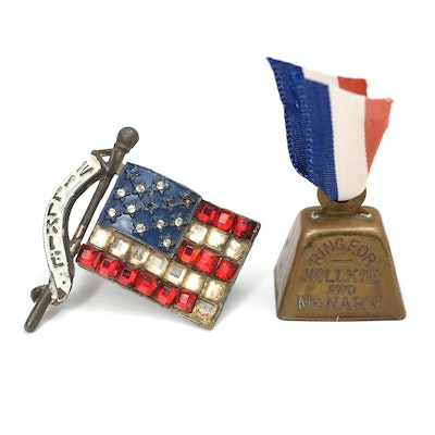 """Wendell Willkie """"Ring for Willkie and McNary"""" Bell and American Flag Brooch"""