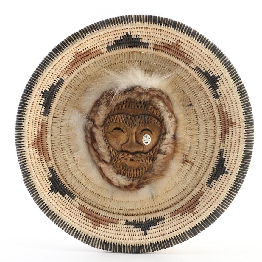 Alaskan Wall Decor Basket Style Carved Wood Spirit Mask
