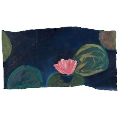 Jerald Mironov Oil Painting of Pink Water Lily, 21st Century