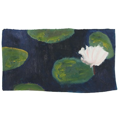 Jerald Mironov Oil Painting Light Pink Water Lily, 21st Century