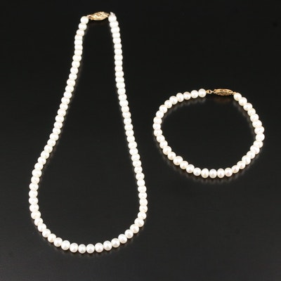 Pearl Necklace and Bracelet with 14K Clasps