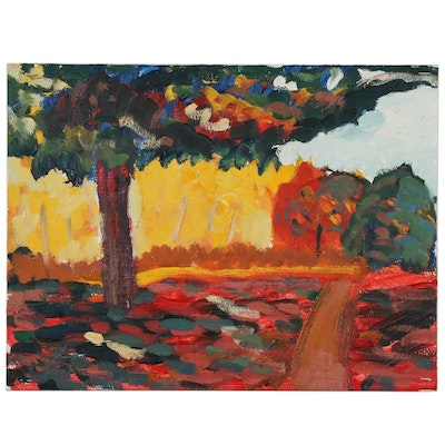 Jerald Mironov Abstract Oil Painting of Autumnal Landscape