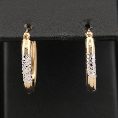 14K Diamond Cut Oval Hoop Earrings