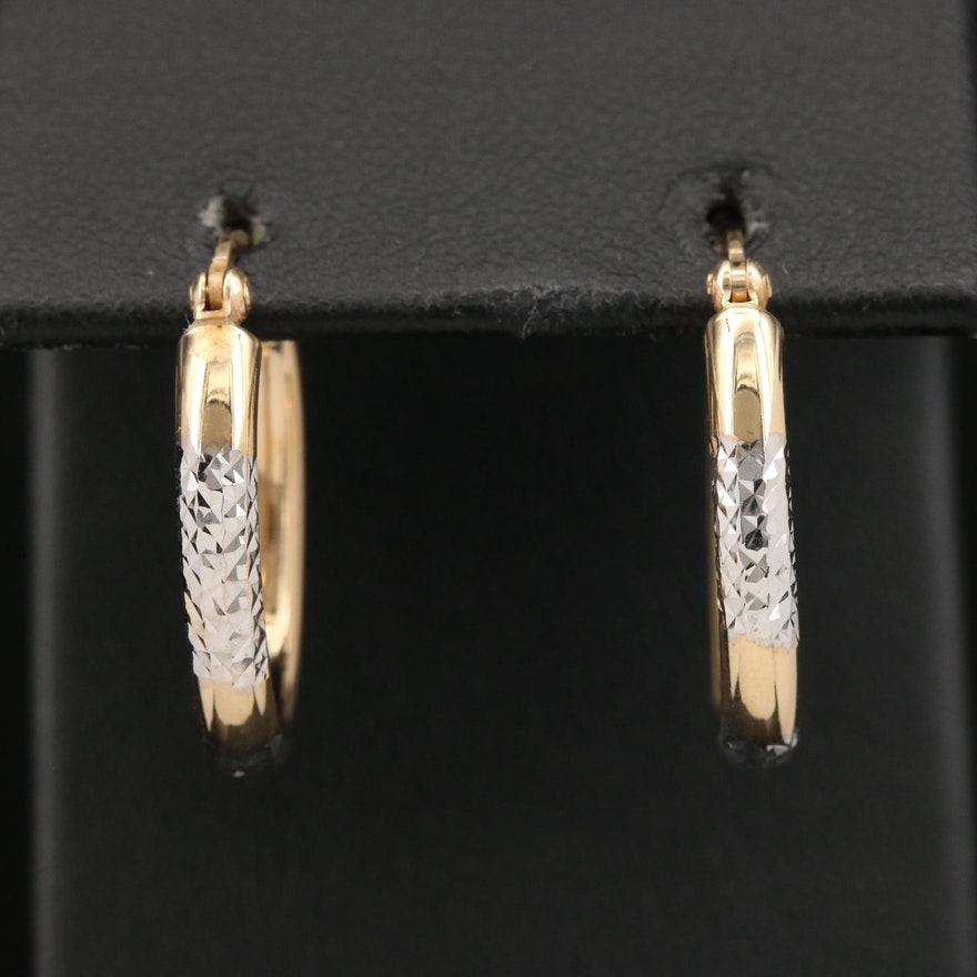 14K Diamond Cut Oval Hoop Earrings