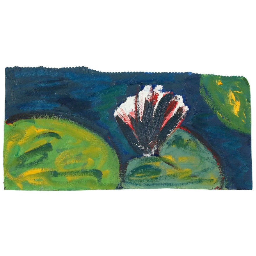 Jerald Mironov Oil Painting Blooming Water Lily, 21st Century