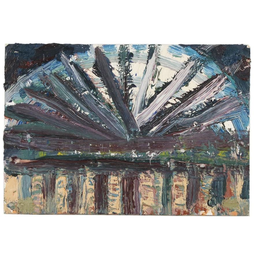 Jerry Mironov Architectural Abstract Oil Painting, 1998