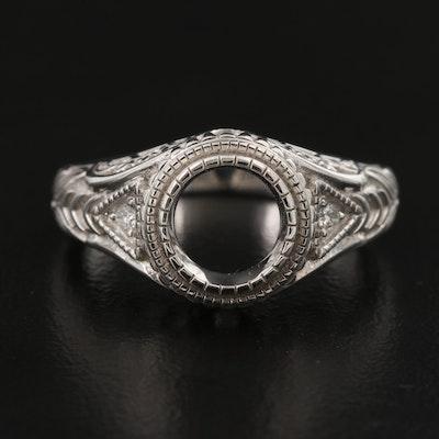 14K Diamond Semi-Mount Openwork Ring