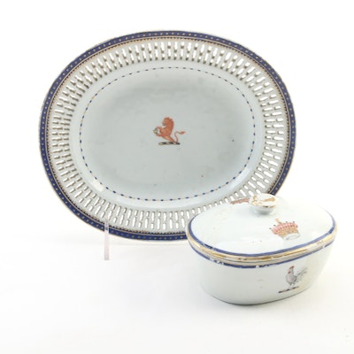 Chinese Export Armorial Porcelain Reticulated Plate and Covered Box, 18th C.