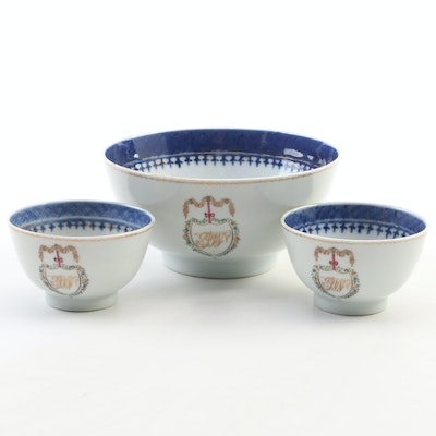 Chinese Export Armorial Porcelain Tea Bowls and Waste Bowl, 18th Century