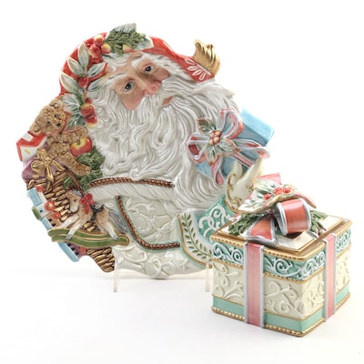 Fitz and Floyd Enchanted Holiday Lidded Box and Santa  Canape Plate