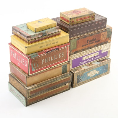 Cigar and Cigarette Boxes Tin, Paper, and Wood Chesterfield, Paola, and more