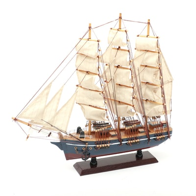 Model Square-Rigged Barque Sailing Ship