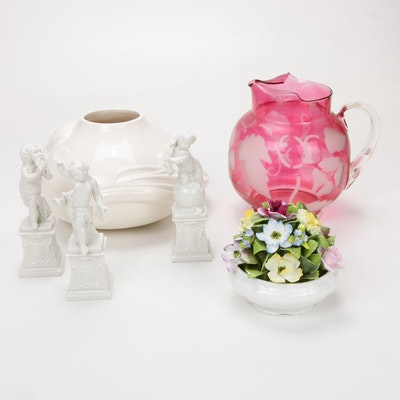 Porcelain Coalport Flower Basket with other Decorative Accessories