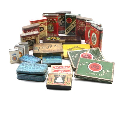 Cigar, Cigarette, Pipe Tobacco Tins Including Prince Albert, Helmar and More