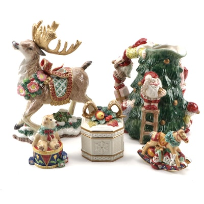 Fitz and Floyd Christmas Elves Tree Pitcher, Deer Candleholder, and more