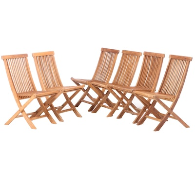 Six Folding Teak Deck Chairs