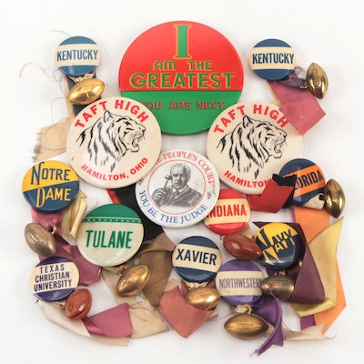 Football and Other College Themed Vintage Pins and Pinbacks
