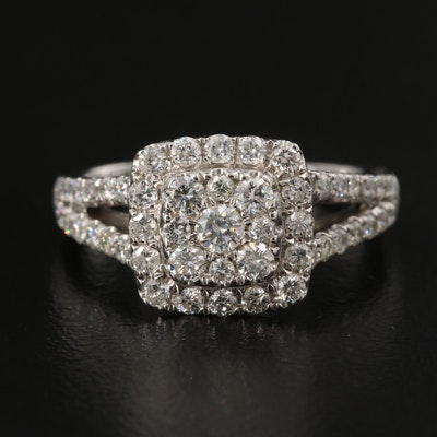 14K 1.00 CTW Diamond Halo Ring with Split Shank