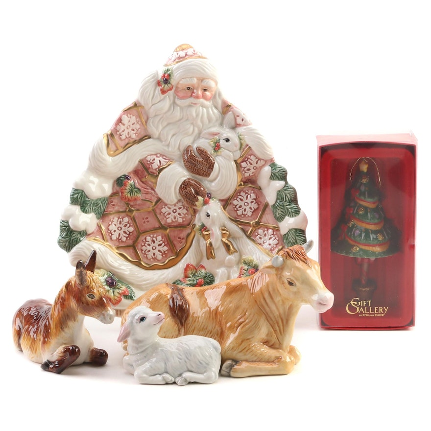 "Fitz and Floyd ""Snowy Woods"" Santa Serving Plate and Other Christmas Decorations"