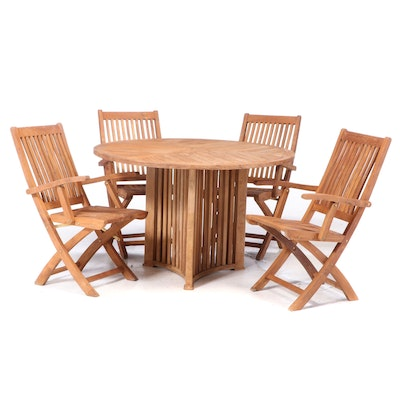 Five Piece Teak Deck Dining Set, Table and Four Chairs with Carrying Handles