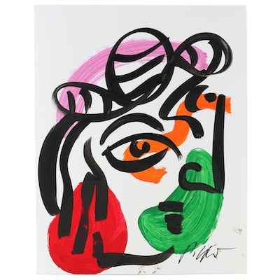 Peter Keil Abstract Acrylic Portrait with Hat Painting, Late 20th Century