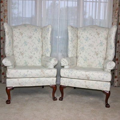 Queen Anne Style Wingback Armchairs, Late 20th Century