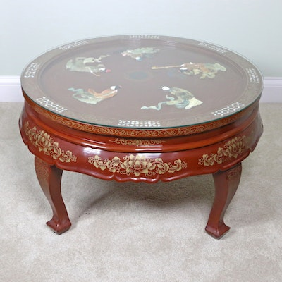 Chinese Decorated Coffee Table with Inlaid Mother-of-Pearl and Stone