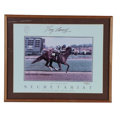 Tony Leonard Signed Secretariat Lithograph, Framed