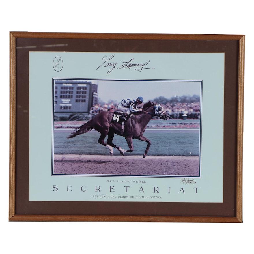 Tony Leonard Signed Secretariat Lithograph, Framed