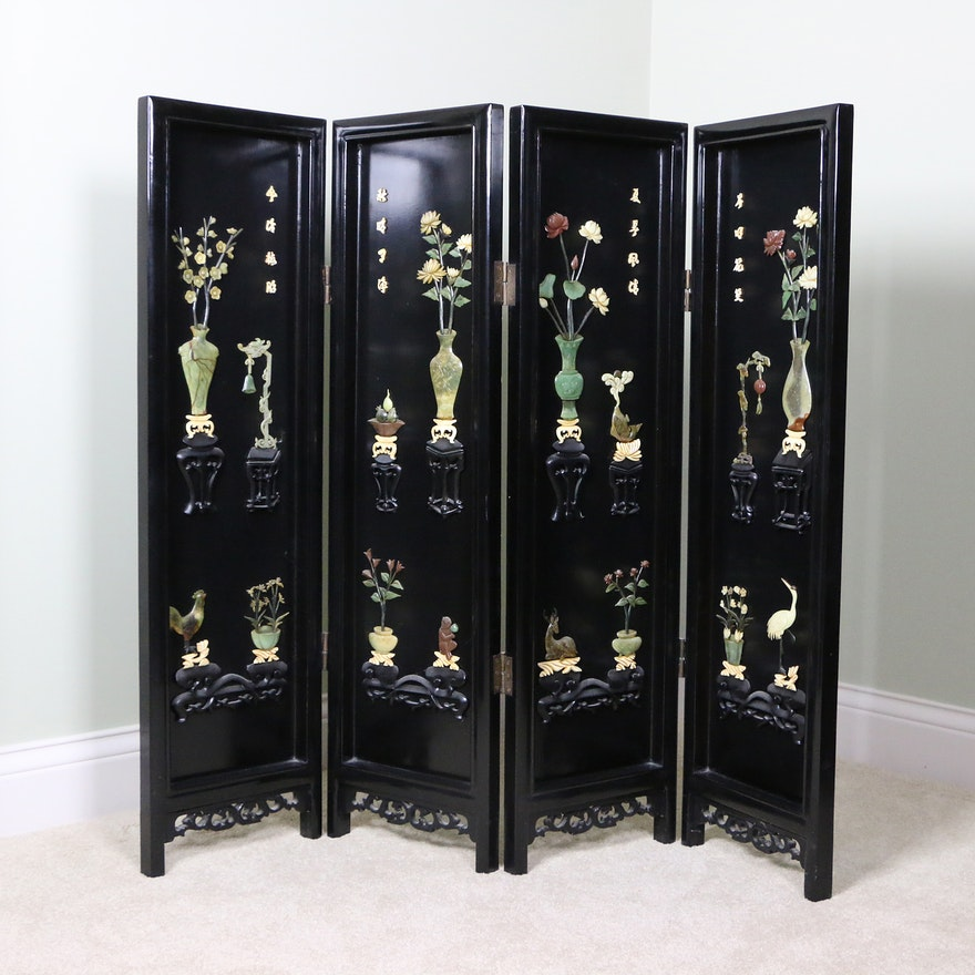 Chinese Painted Short Folding Screen with Inlaid Stone