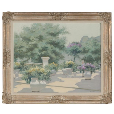 André Gisson Impressionist Style Oil Painting of Courtyard Scene with Flowers