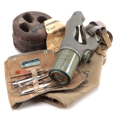 US Combat Medical Field Kit Pouch, Noncombatant Gas Mask, and Salvage