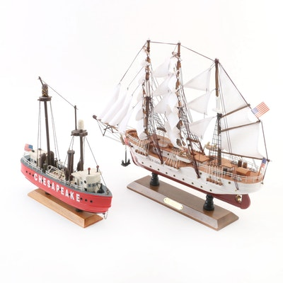 """USCG """"Barque Eagle"""" Cutter and """"Chesapeake"""" Lightship Model Ships"""
