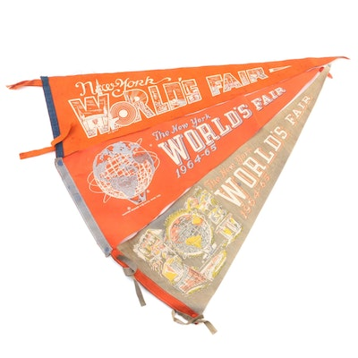 New York World's Fair Souvenir Felt Pennants, Mid-20th Century