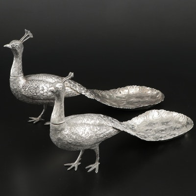 Kurz J. & Co. German 800 Silver Peacock Spice Boxes, Early 20th Century