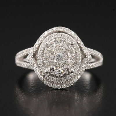 14K 1.00 CTW Diamond Cluster Ring with Double Halo