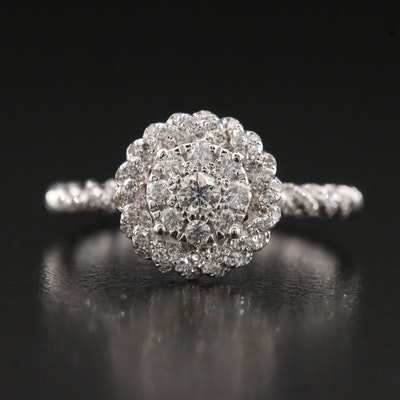 14K Diamond Ring with Twisted Halo and Shoulders