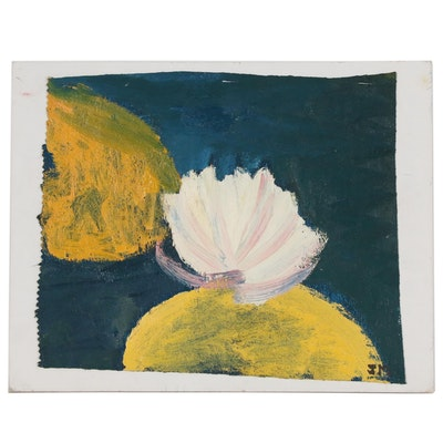 Jerry Mironov Oil Painting Fragment of a Water Lily, Late 20th Century