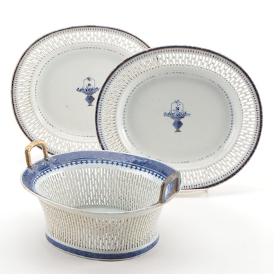 Chinese Export Reticulated Porcelain Chestnut Basket and Platter