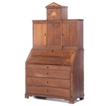 North European Oak and Marquetry Bureau Cabinet, Possibly German, 19th Century